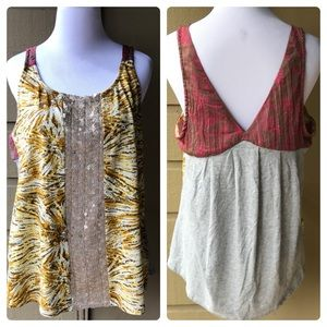 Tiny Sleeveless Blouse With Sequins Size Large